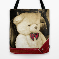 TEDDY GOES FOR A DRIVE Tote Bag by catspaws