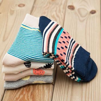 PEONFLY 2017 Cotton Women/men Kawaii Fruit Crew Socks Cute Harajuku Street Tide Casual Funny Japanese Korean Novelty 5pairs/lot