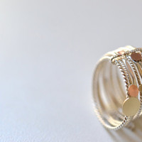 9 sunny days - 14k solid gold and silver ring, stacking bands, semainier, wedding  band