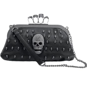 Skull Clutch with Brass Knuckle Handle