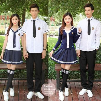 Boy and girl XS-5XL School Uniforms Sailor Uniforms T-shirt +Skirt Piece Fitted Sexy Girls Plus Size Japanese Cosplay Anime Wear