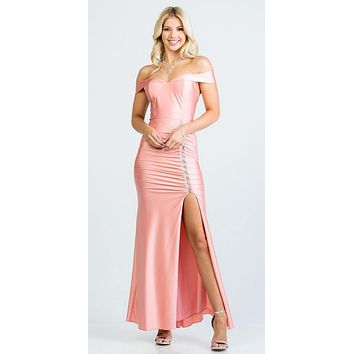 Off The Shoulder Long Mermaid Sheath Gown Blossom With Side Slit