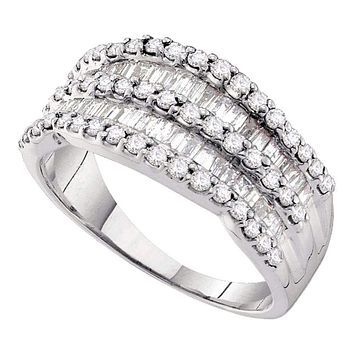 14kt White Gold Women's Round Baguette Diamond Striped Cocktail Band Ring 1.00 Cttw - FREE Shipping (US/CAN)