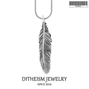 Link Chain Necklace Black Feather, 2018 New Fashion 925 Sterling Silver Jewelry European Punk Gift For Men Women Boy Girls