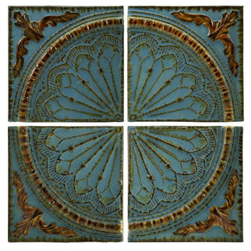 4 Wall Art Panels - Blue Medallion