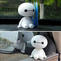 Cartoon Plastic Baymax Robot Shaking Head Figure Car Ornaments Auto Interior Decorations Big Hero Doll Toys Ornament Car-Styling