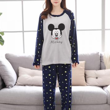 On sale summer women ladies mickey stars printed lovely sleep pajamas suit Female nightgown Cartoon home set clothes