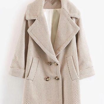 Wool Blend Striped Cocoon Coat