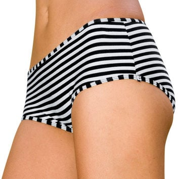 Womens Underwear - Womens Boy Leg Undies - Striped Undies - Organic Cotton Undies - Striped Underwear Black and White
