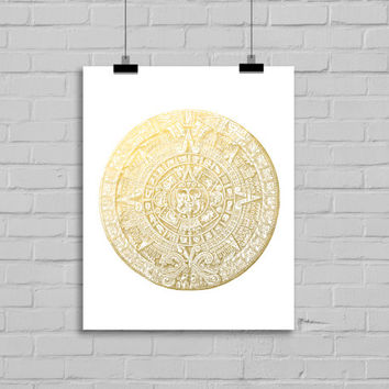 Mayan Calendar Faux Gold Foil Art Print - Wall Art - Home Decor - Office Decor