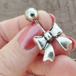 Silver Bow Belly Button Ring Jewelry