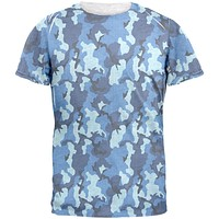 Navy Blue Camo All Over Mens T Shirt