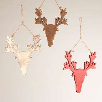 Wood Stag Head Ornaments,  Set of 3 - World Market