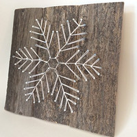 Reclaimed wooden Snowflake string art sign. A unique gift for Weddings, Anniversaries, Birthdays, Christmas, and winter home and cabin decor. A unique and special gift for skiers!