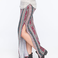 Full Tilt Double Side Slit Maxi Skirt Multi  In Sizes