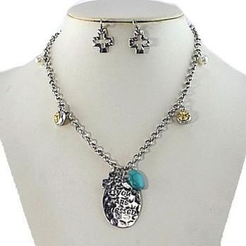 Religious Necklace & Earrings Set-Silver/Turquoise