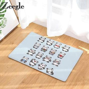 Autumn Fall welcome door mat doormat Zeegle Panda Printed Funny s Entrance Mats Non-slip Bedroom Carpet Bedside Rug Absorbent Bathroom Bath Mats Corridor Rug AT_76_7