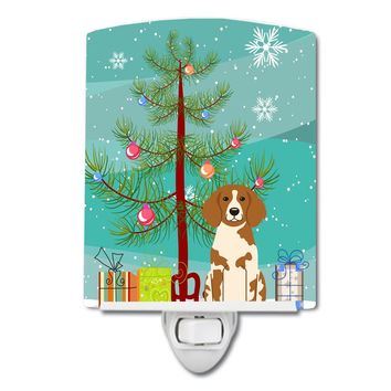 Merry Christmas Tree Brittany Spaniel Ceramic Night Light BB4197CNL