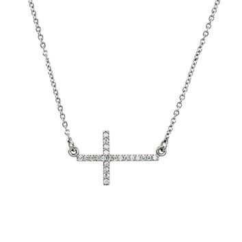 19.5mm Sideways Diamond Cross Adjustable 14k White Gold Necklace