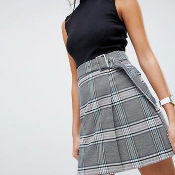 ASOS DESIGN tailored coloured check mini skirt with belt at asos.com