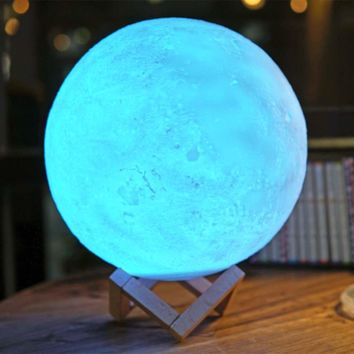 3D Printed 16 Color LED Moon Night Light Lamp with Remote