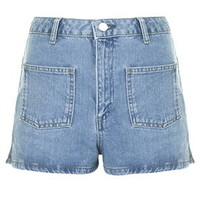 MOTO Patch Pocket Mom Shorts - Mid Stone