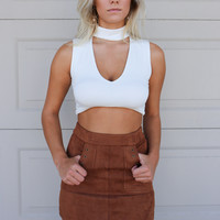 Meant To Be Rust Faux Suede Skirt