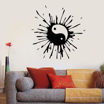 Vinyl Wall Decal Blot Yin Yang Symbol Buddhism Asian Style Stickers Unique Gift (1795ig)