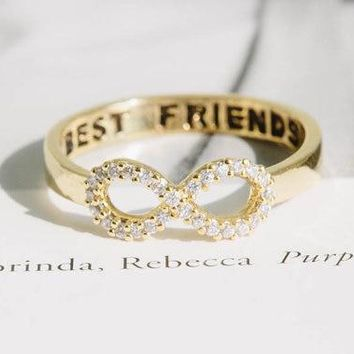 Hfarich Crystal Infinity Ring Best Friend Rings Eternity Charm Best Gift Endless Love Symbol Ring For Women Party Dropshipping