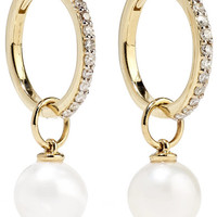 Mateo - 14-karat gold, diamond and pearl hoop earrings