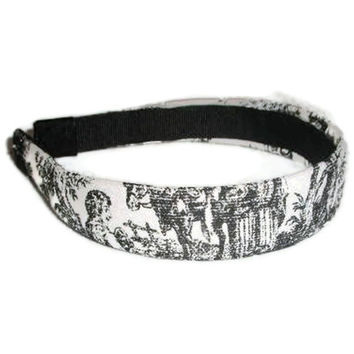 French Toile Fabric Headband in Black and White by xoribbons