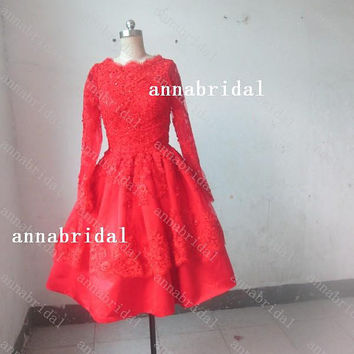 Short Red Wedding Dresses Tulle See-through High-neck Long Sleeves Party Dresses Knee-length Backless Beach Bridal Gowns 2015 Prom Dresses