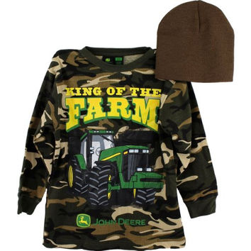 "John Deere ""King of the Farm"" Camo Thermal Shirt & Beanie Hat Set 8-14/16 (L (14/16))"