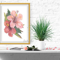 Pink flower wall art Large Watercolor flower art Pink Coral decor Hibiscus fower print Tropical flower printable 5x7 8x10 11x14 16x20