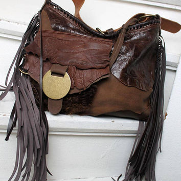Brown distressed leather fur bag few tones fringe fringed hobo tribal african bohemian boho army purse sweet smoke free people  bag moroccan