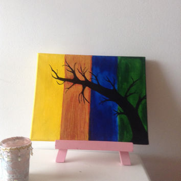 canvas acrylic painting tree, size 24 x 30 cm