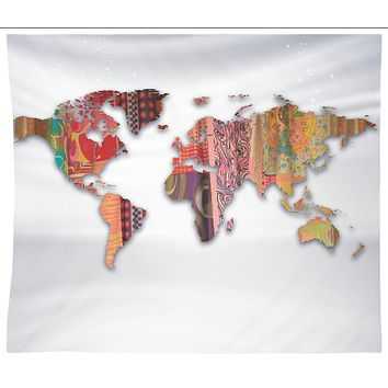 Bohemian Fabric Map Of Earth Tapestry Wall Hanging Meditation Yoga Grunge Hippie