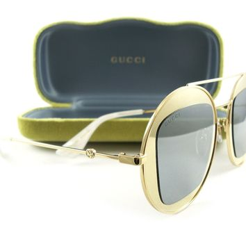New Gucci Sunglasses GG0105S Gold Silver Mirror 003 Authentic