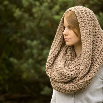 Oversized Hooded Cowl, Oatmeal Tan Ecru from WellRavelled on Etsy