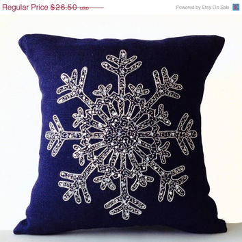 Christmas Pillow -Snowflake -Navy Blue Pillows -Burlap Pillows -Throw Pillows -Christmas Cushion -Silver Sequin Snow Pillows -18x18