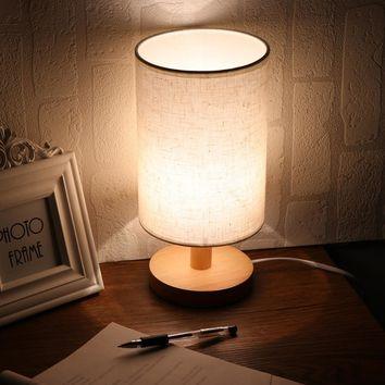 Minimalist Table Bedside Desk Lamp with Fabric Shade Solid Wood Base