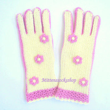 Hand knitted gloves with fingers Hand knitted gloves Elegant white pink women's gloves Knitted mittens Stylish girl's gloves Gift 2016