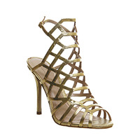 Office Trance Caged Heels Gold Leather - High Heels
