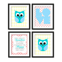 Nursery art, you are my sunshine song, love and two owls, pink polka dots,yellow diamonds, 4 x (CHOOSE SIZE)