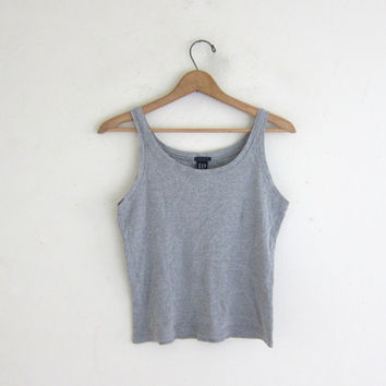 vintage cropped gray tank top. simple basic shirt. size M