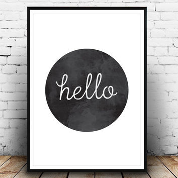 Hello print, hello poster, hallway print, hello home decor, wall decor, wall print, welcome, stylish print, simple, black white, minimalist