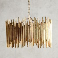 Gathered Glow Pendant by Anthropologie in Gold Size: One Size Necklaces