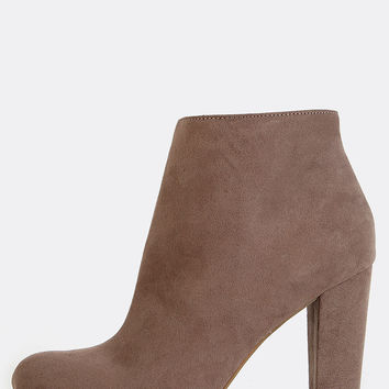 Chunky Heel Suede Ankle Booties TAUPE | MakeMeChic.COM