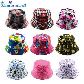 6bc37c2ce39 Bnaturalwell Kids Summer Hat Bucket Style Printing Sun Hat Acces