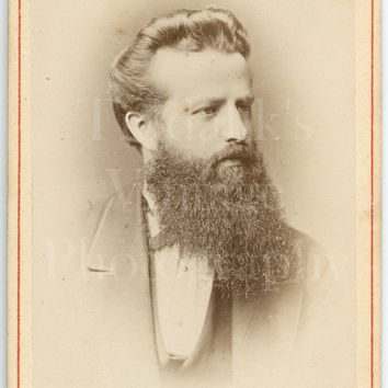CDV Carte de Visite Photo Victorian Handsome Young Dapper Man, Hipster Beard Portrait - Waldemar Dahllöf of Gothenburg Sweden - Antique